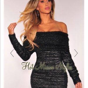 Hot Miami Styles Dresses - Black silver-shimmer off shoulder cowl neck dress 50a9bfa6c